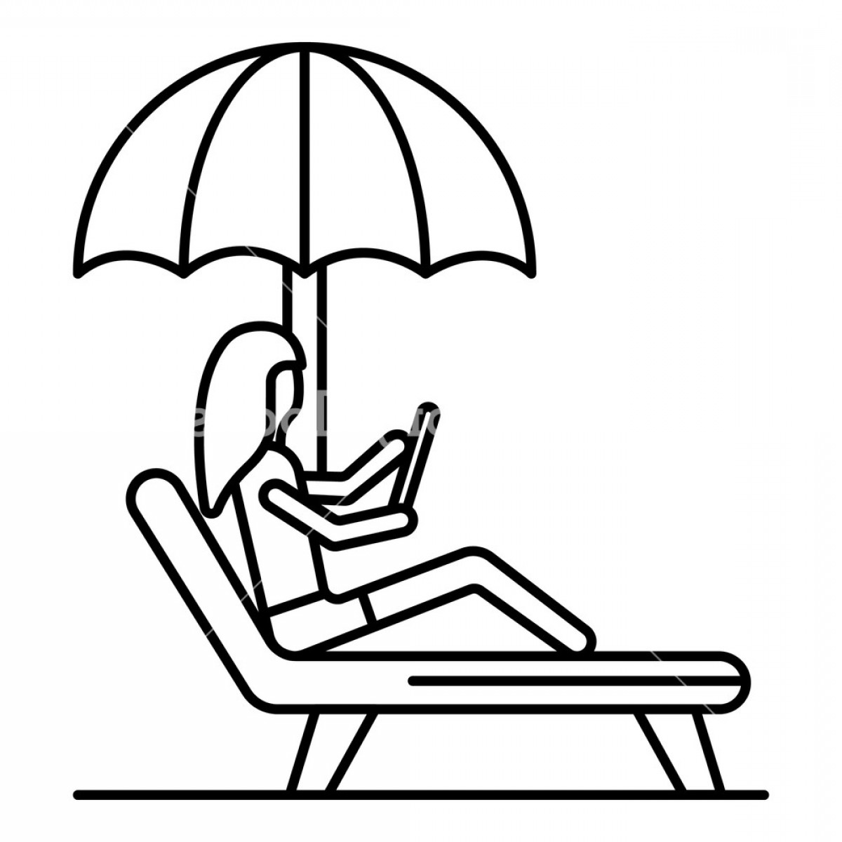 Woman in beach chair clipart png royalty free stock Woman At Beach Chair Icon Outline Woman At Beach Chair ... png royalty free stock