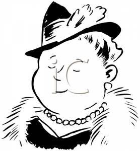 Woman in fur coat clipart freeuse A Wealthy Woman Wearing a Hat, Pearls and a Fur Coat ... freeuse