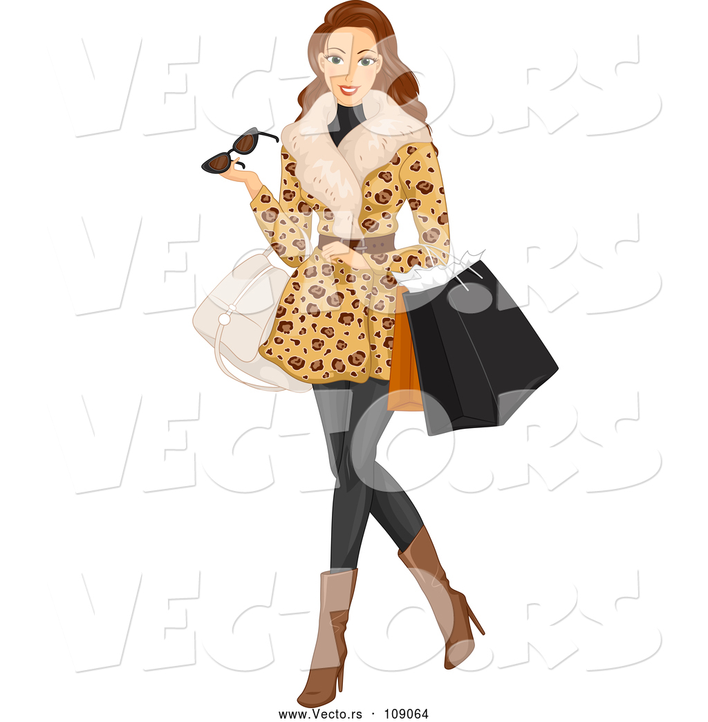 Woman in fur coat clipart jpg freeuse stock Vector of Brunette White Woman Wearing a Fur Coat and ... jpg freeuse stock