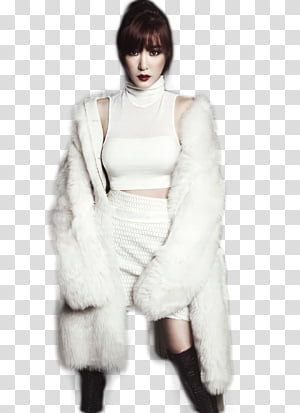 Woman in fur coat clipart image transparent TIFFANY SNSD , woman wearing white turtleneck top and white ... image transparent