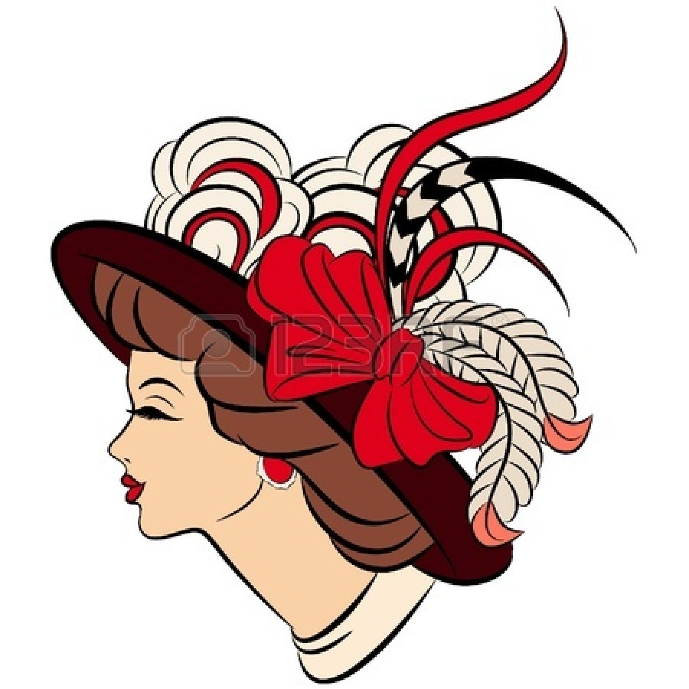 Woman in hat clipart clipart black and white Free Lady Hat Cliparts, Download Free Clip Art, Free Clip ... clipart black and white