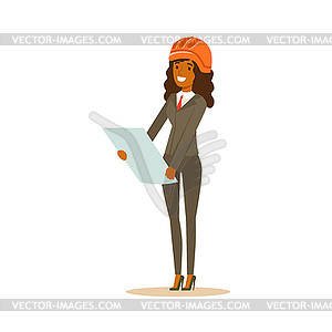 Woman in helmet clipart clip stock Smiling architect woman in helmet standing and - vector clipart clip stock