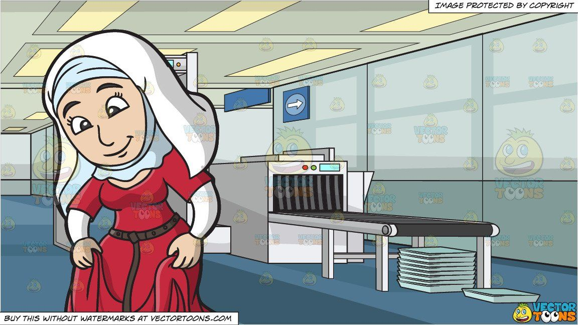 Woman in modest skirt clipart graphic stock A Modest Medieval Woman and Airport Security Check ... graphic stock