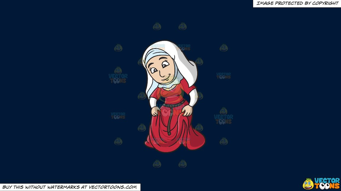 Woman in modest skirt clipart svg transparent Clipart: A Modest Medieval Woman on a Solid Dark Blue 011936 Background svg transparent