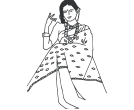 Woman in saree clipart banner black and white Women Clip Art free Downloads   Women Illustrations and ... banner black and white