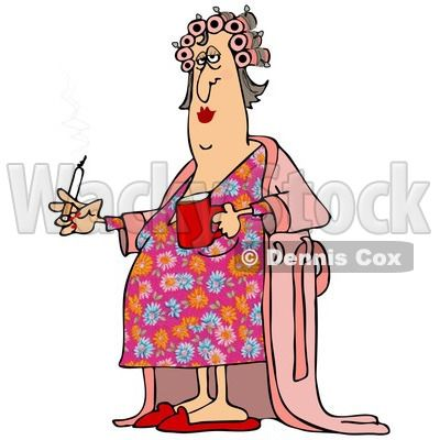 Woman in white robe clipart svg transparent download Of A Fat White Woman In Curlers And A Robe, Smoking A ... svg transparent download