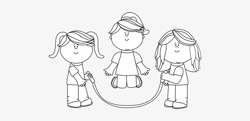 Jump rp e clipart black and white svg download Black And White Black And White Girls Jumping Rope - Clip ... svg download