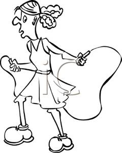 Woman jump rope clipart black graphic free download A Black and White Cartoon of a Woman with a Jump Rope ... graphic free download