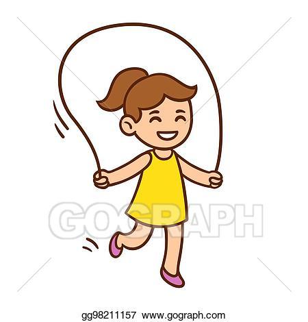 Woman jump rope clipart vector Vector Art - Cartoon girl jumping rope. EPS clipart ... vector