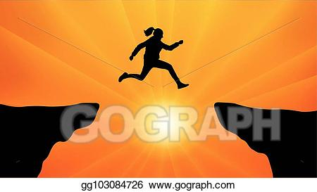 Woman jumping clipart sunset clip library download Vector Clipart - Silhouette the girl jumping over the gap at ... clip library download