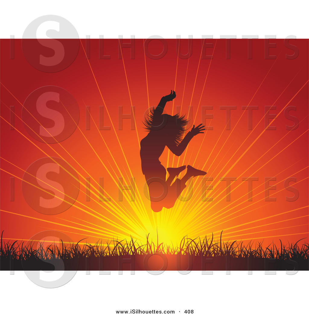 Woman jumping clipart sunset banner transparent Silhouette Clipart of a Happy and Energetic Woman Jumping ... banner transparent