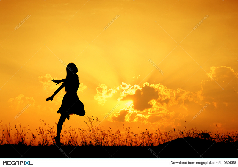 Woman jumping clipart sunset vector Happy Woman Jumping And Sunset Silhouette Stock Photo ... vector