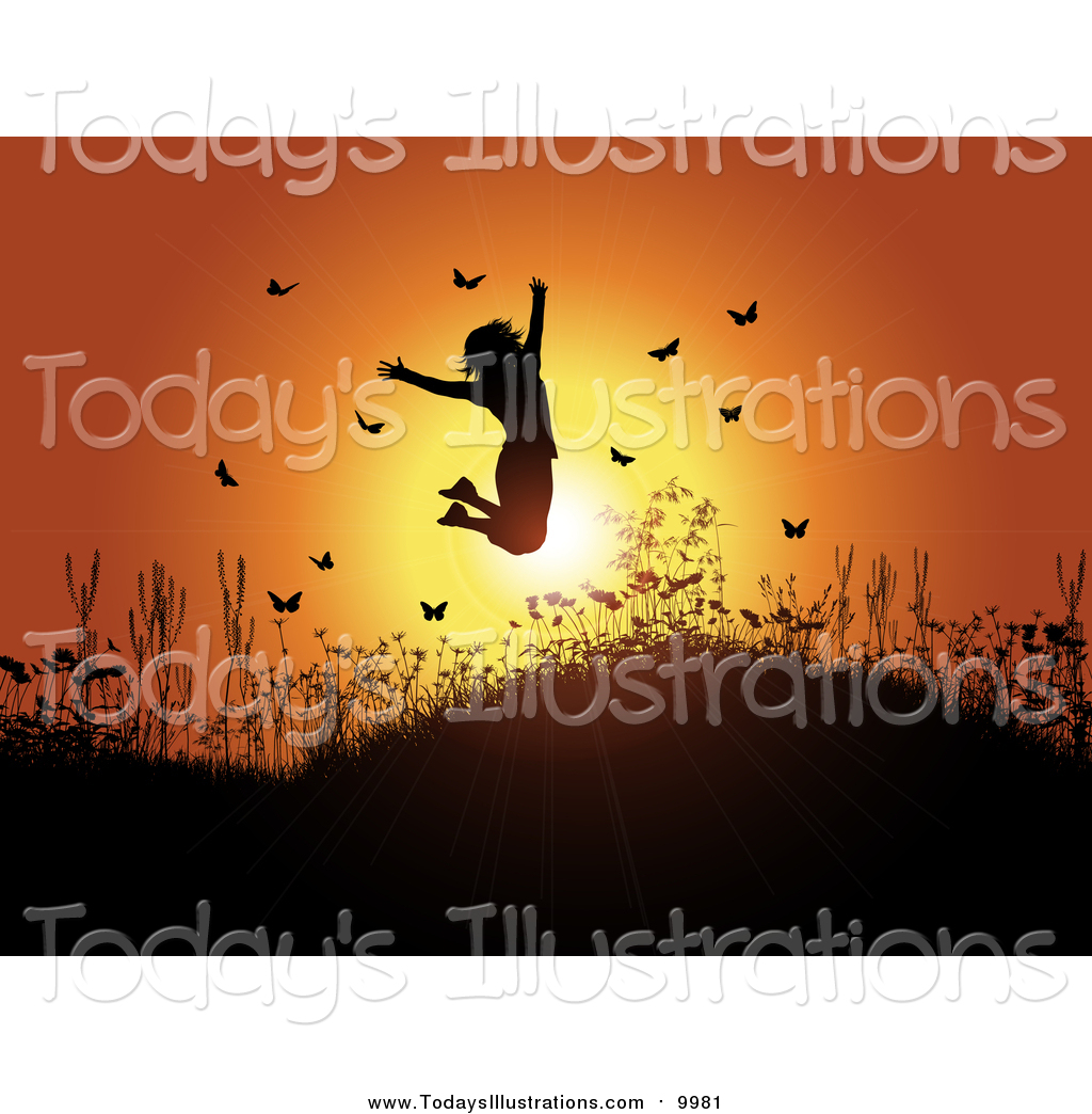 Woman jumping clipart sunset graphic transparent stock Clipart of a Silhouetted Happy Woman Jumping Against an ... graphic transparent stock