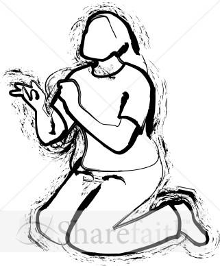 Woman kneeling clipart svg download A Kneeling Woman   Prayer Clipart svg download