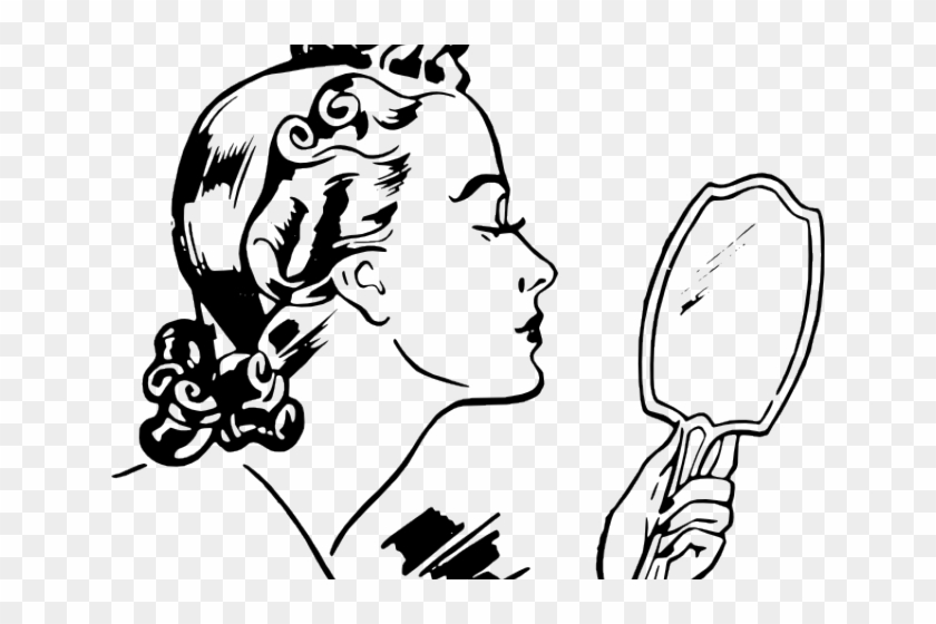 Woman looking in mirror clipart banner freeuse download Vintage Woman Clipart - Girl Looking In Mirror Clipart, HD ... banner freeuse download