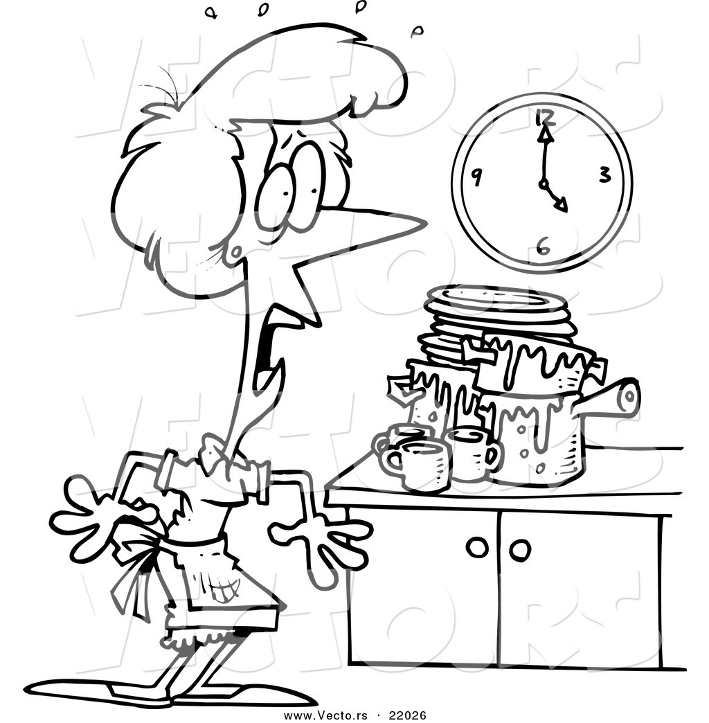 Woman messy kitchen clipart png transparent Vector of a Cartoon Woman Panicking in a Messy Kitchen ... png transparent