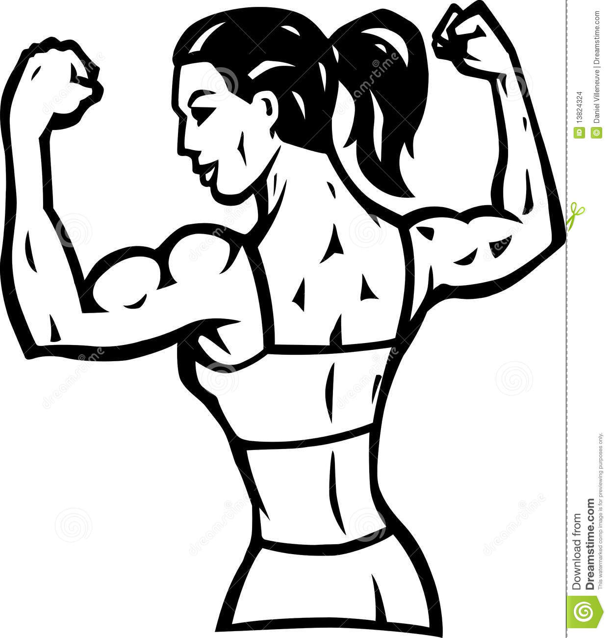 Woman muscle clipart jpg black and white library Woman With Black And White Muscle Clipart #323554 ... jpg black and white library