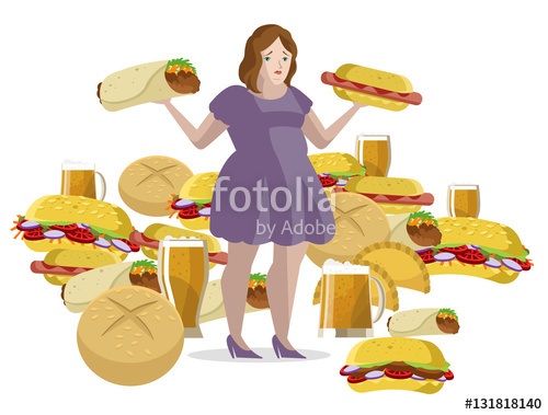 Woman overeating clipart clip freeuse stock obese woman overeating fast food\