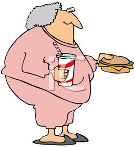 Woman overweight clipart graphic black and white library An Obese Woman with a Large Drink and Large Cheeseburger ... graphic black and white library