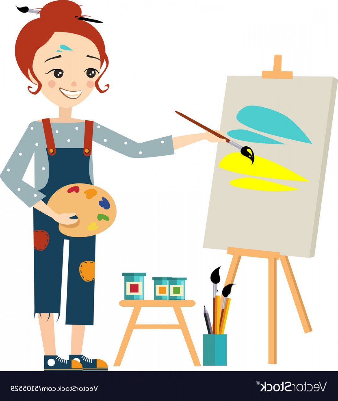 Woman painting clipart png free download Beautiful Artist Woman Painting On Canvas Vector | SOIDERGI png free download