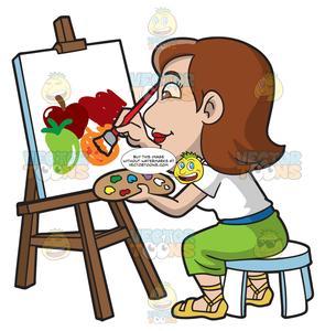 Woman painting clipart clip art transparent stock A Woman Painting Still Life Fruits clip art transparent stock