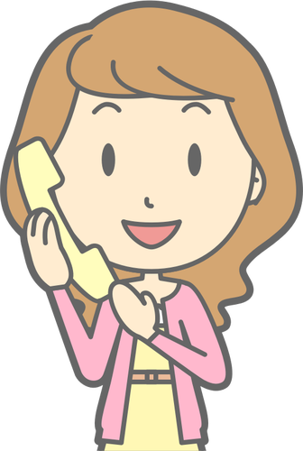 Woman with phone clipart banner black and white download Woman using telephone | Public domain vectors banner black and white download