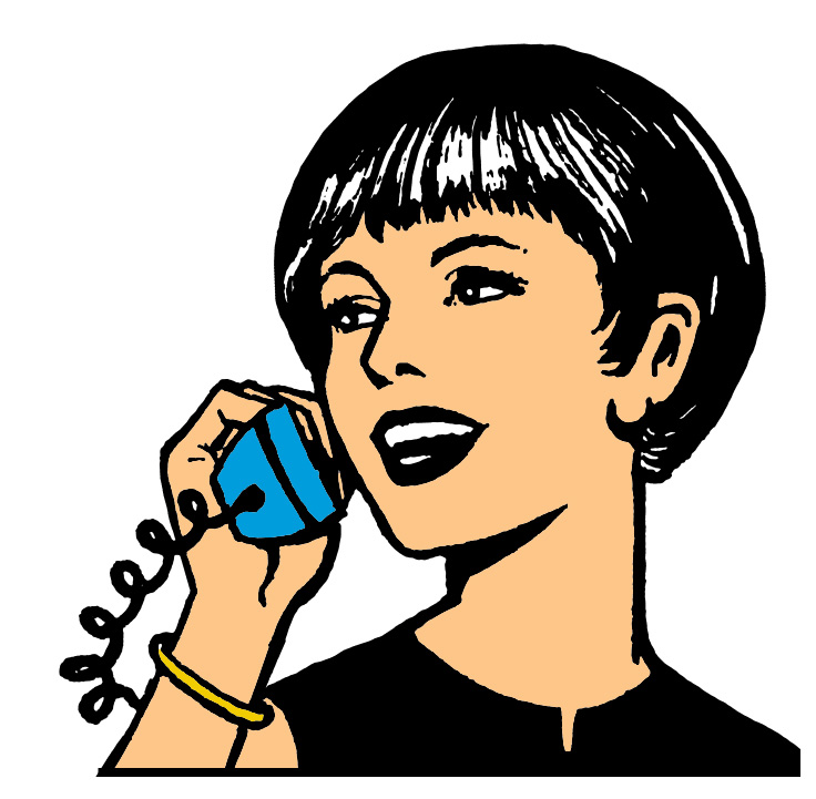 Woman with phone clipart svg black and white stock Retro Woman On Phone Galleryhip - Free Clipart svg black and white stock