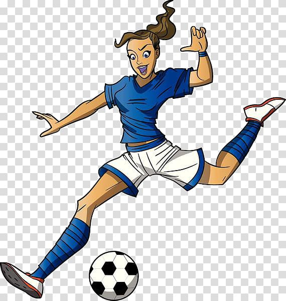 Woman playing football clipart clip Woman playing soccer illustration, Football player Cartoon ... clip