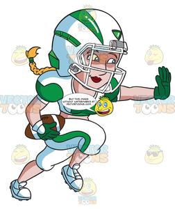 Woman playing football clipart banner A Female Football Player Charges Ahead While Blocking An Opponent banner