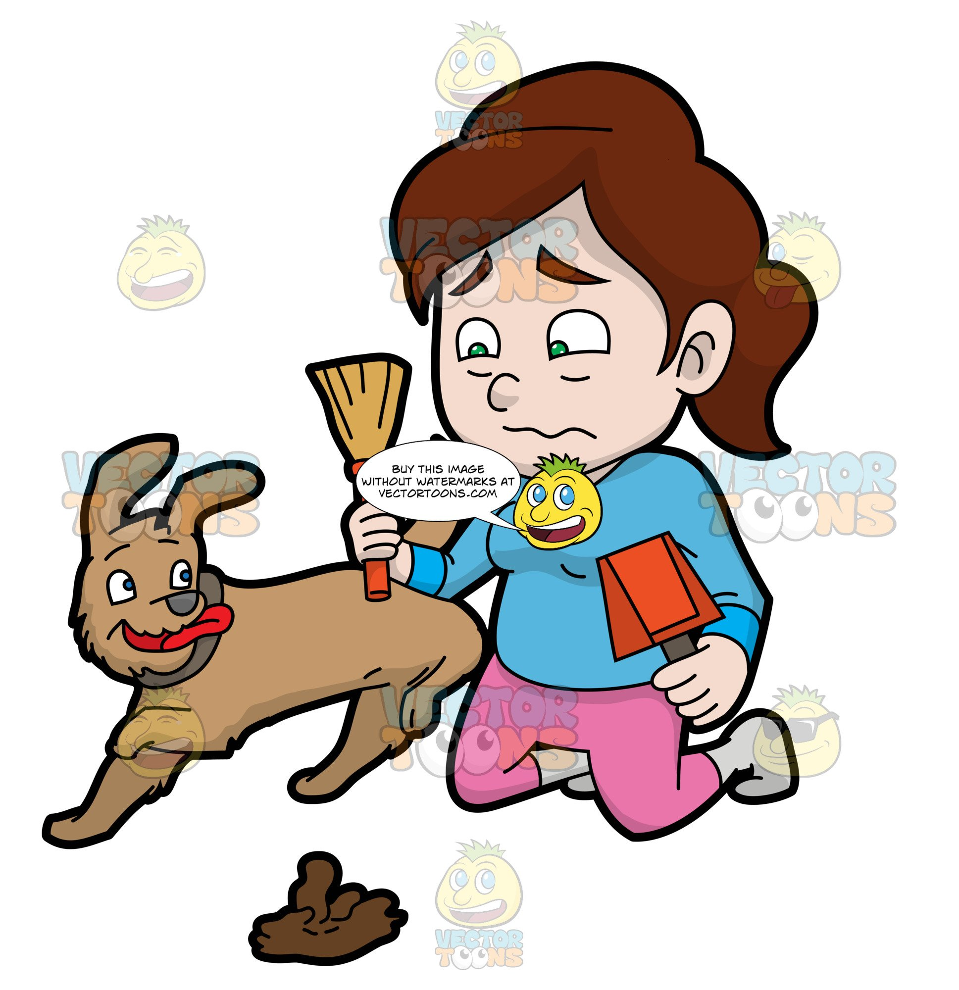 Woman pooping clipart clip black and white stock A Woman Afraid Of Picking Up The Poop Of Her Dog clip black and white stock