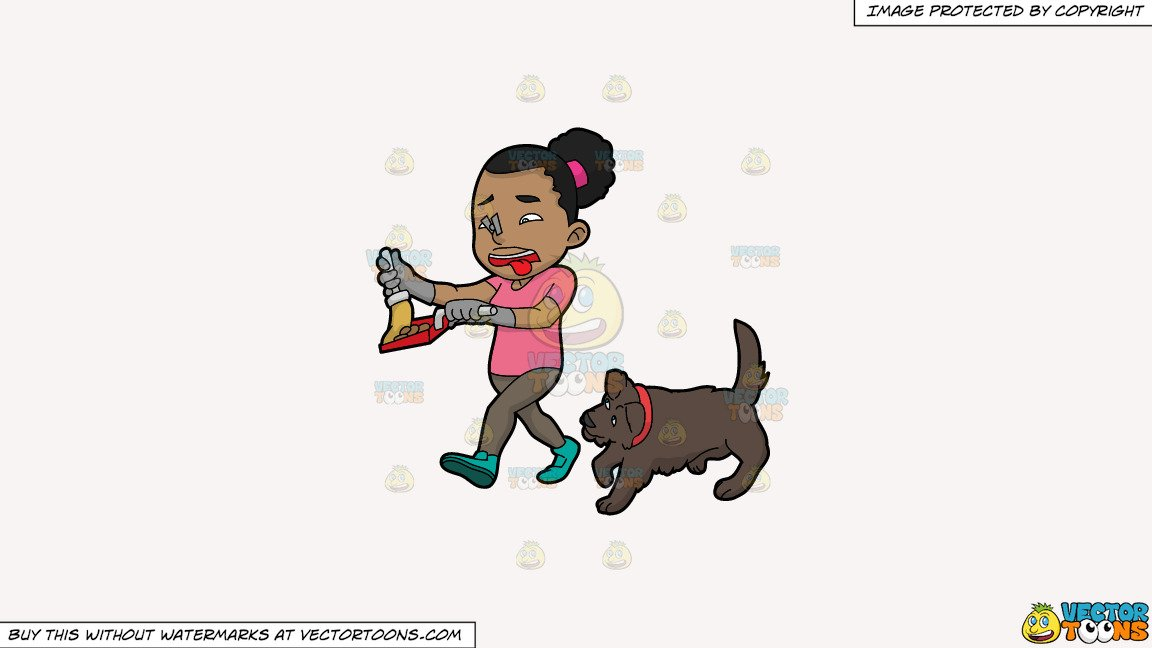 Woman pooping clipart banner black and white download Clipart: A Black Woman Picking Up The Poop Of Her Dog on a Solid White  Smoke F7F4F3 Background banner black and white download
