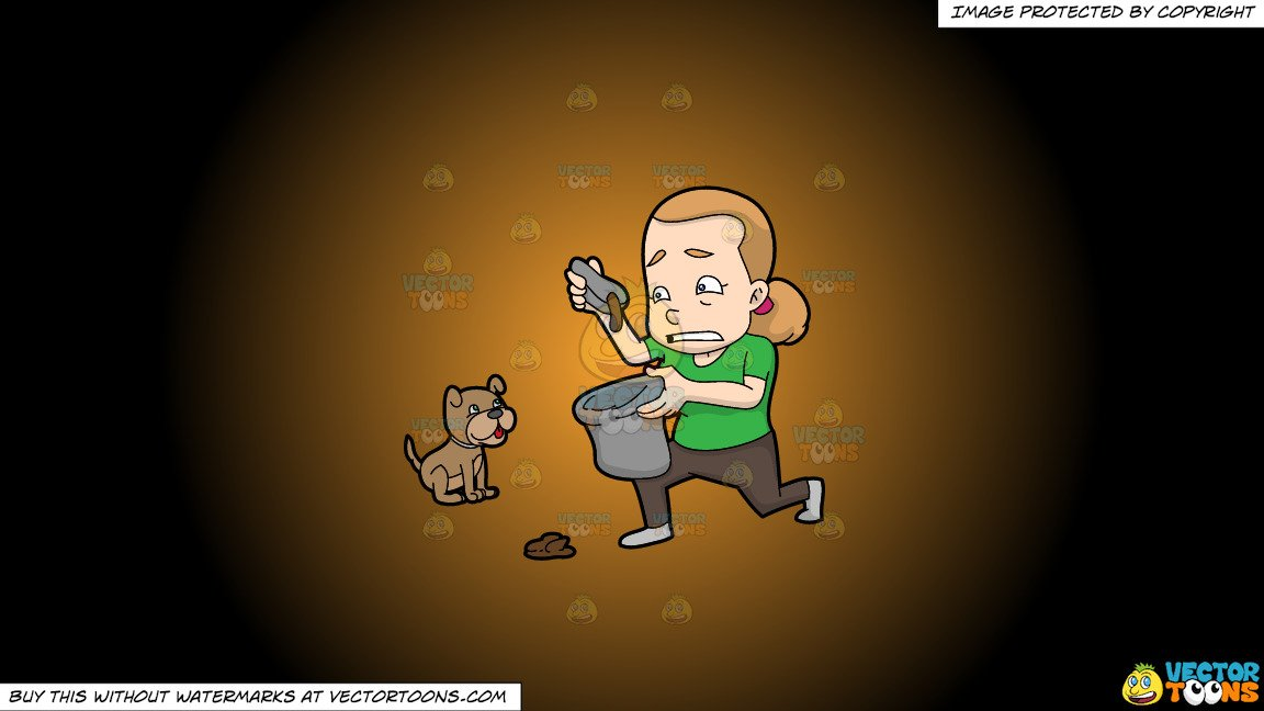 Woman pooping clipart clipart freeuse Clipart: A Woman Placing Dog Poop In A Trash Bag on a Orange And Black  Gradient Background clipart freeuse