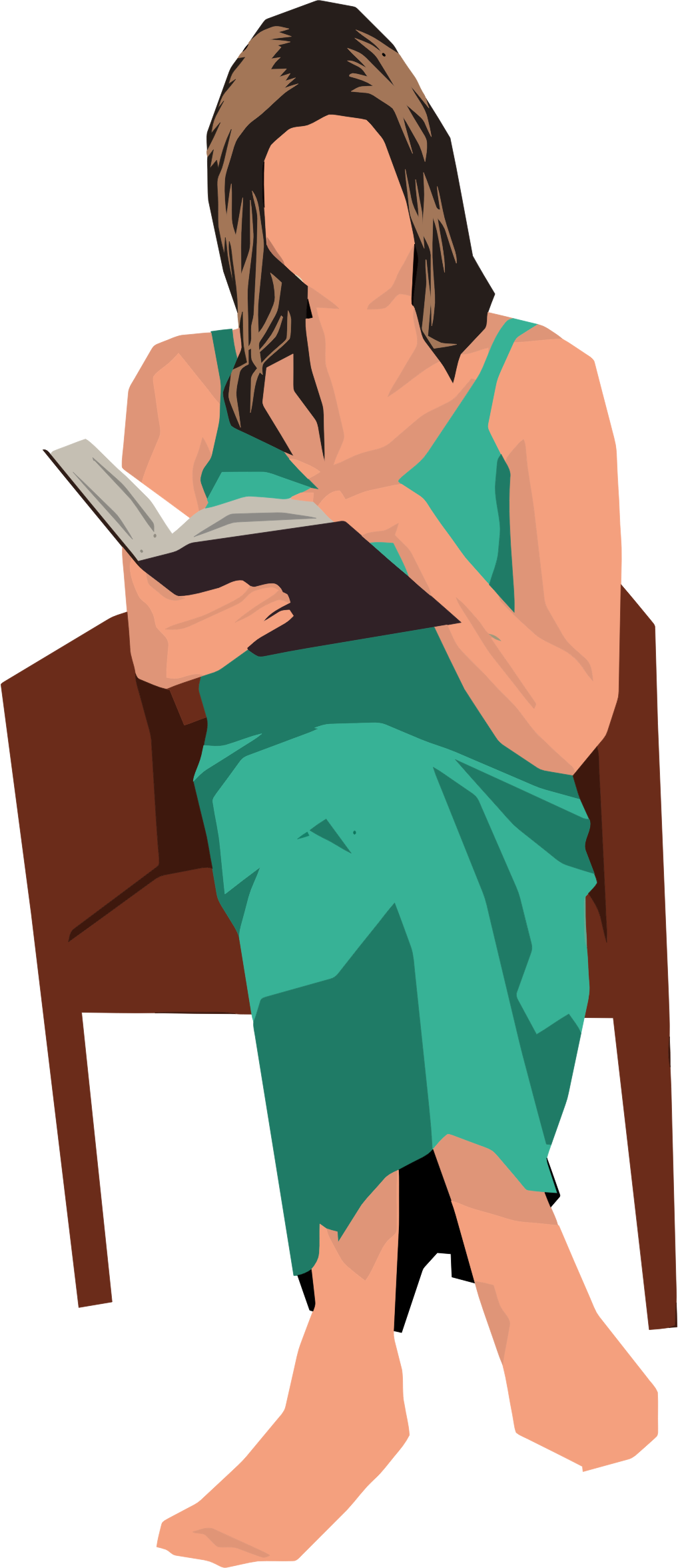 Woman sittnig in a chair with crown clipart royalty free library Clipart - Woman Sitting In Chair Reading royalty free library