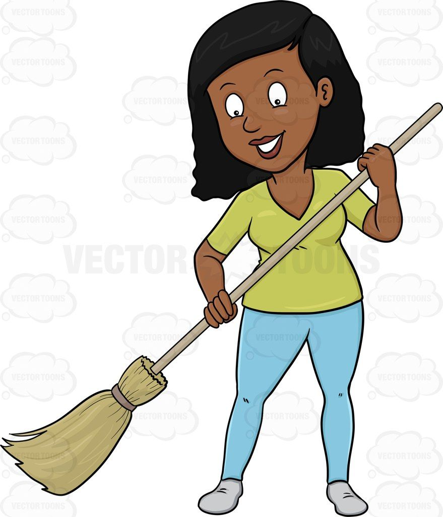 Woman remembers clipart vector free download A Black Woman Cheerfully Cleans The Floor Using A Broom ... vector free download