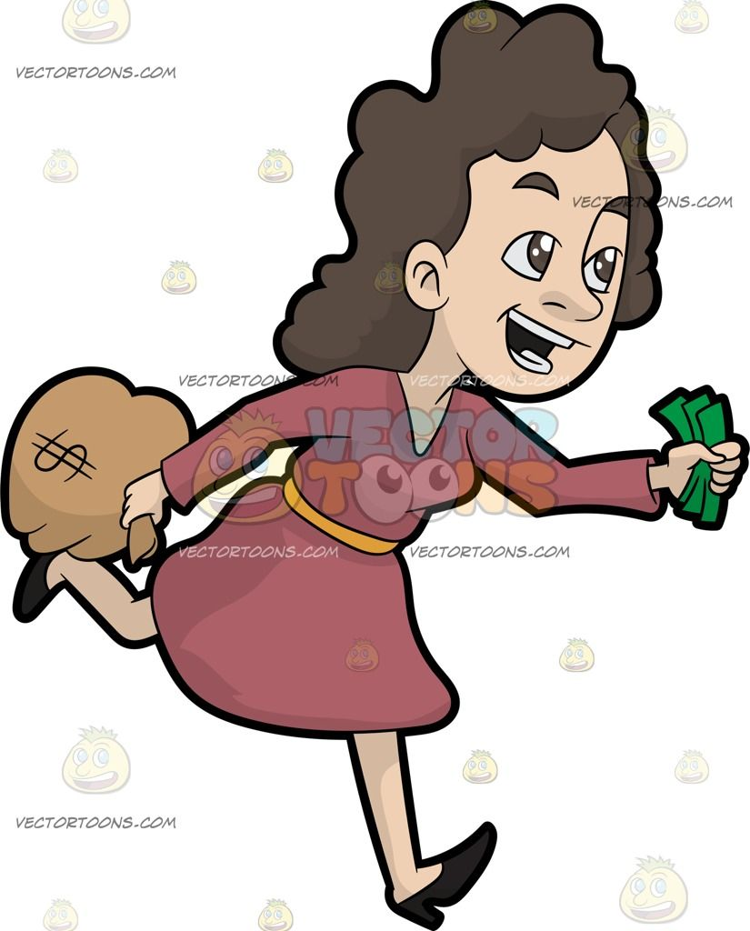 Woman running away clipart