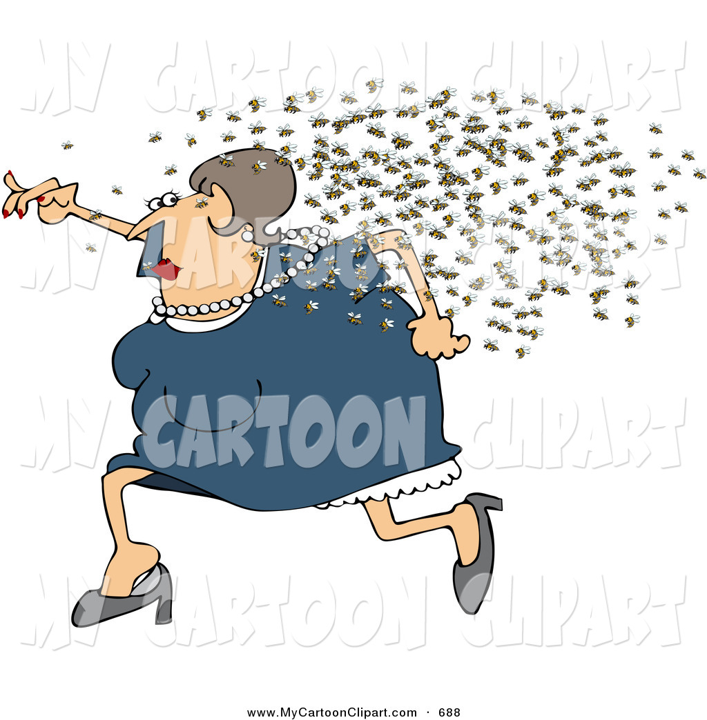 Woman running away clipart png transparent library Clip Art of a Fat Woman Running Away from a Swarm of Bees by ... png transparent library
