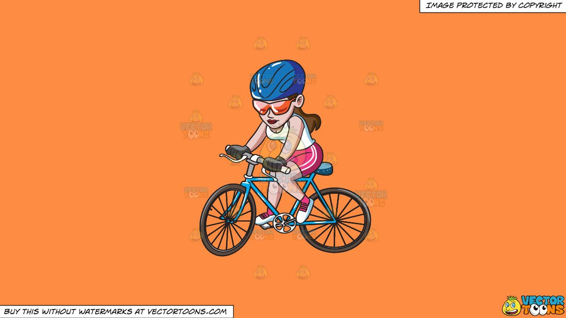 Woman s orange bicycle clipart image library download Clipart: A Woman Riding A Mountain Bike on a Solid Mango Orange Ff8C42  Background image library download