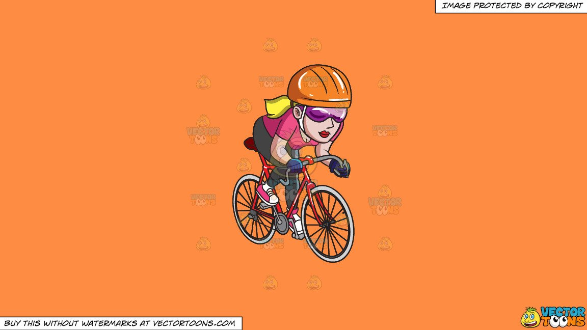 Woman s orange bicycle clipart png free library Clipart: A Woman Riding A Road Bike on a Solid Mango Orange Ff8C42  Background png free library