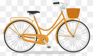 Woman s orange bicycle clipart vector black and white library City Bicycle Step Through Frame Kickstand Orange - Lady Bike ... vector black and white library
