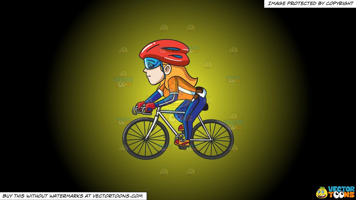 Woman s orange bicycle clipart clip transparent Clipart: A Woman Competing In A Cycling Tournament on a Yellow And Black  Gradient Background clip transparent