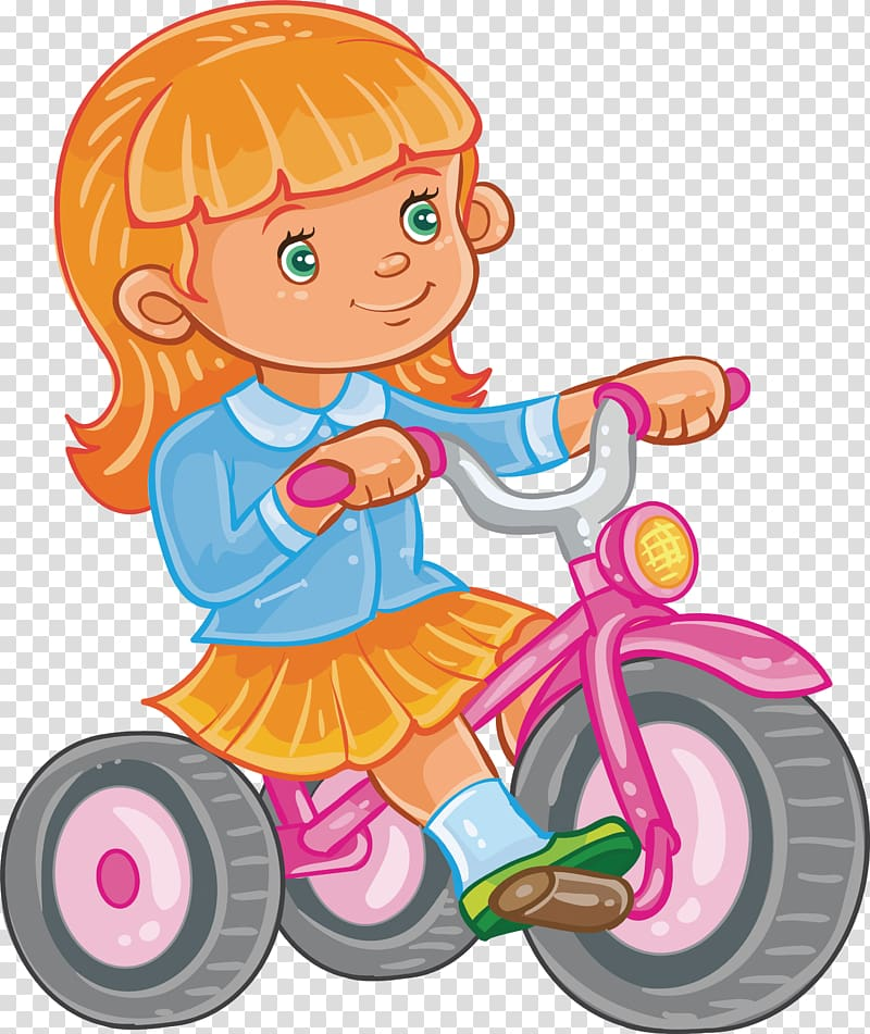 Woman s orange bicycle clipart image freeuse download Tricycle Bicycle Girl Illustration, Pink bike transparent ... image freeuse download
