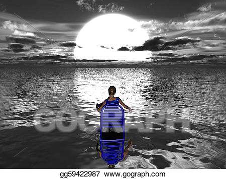 Woman s reflection in water clipart png black and white library Drawing - Woman sitting in blue chair in the water facing ... png black and white library