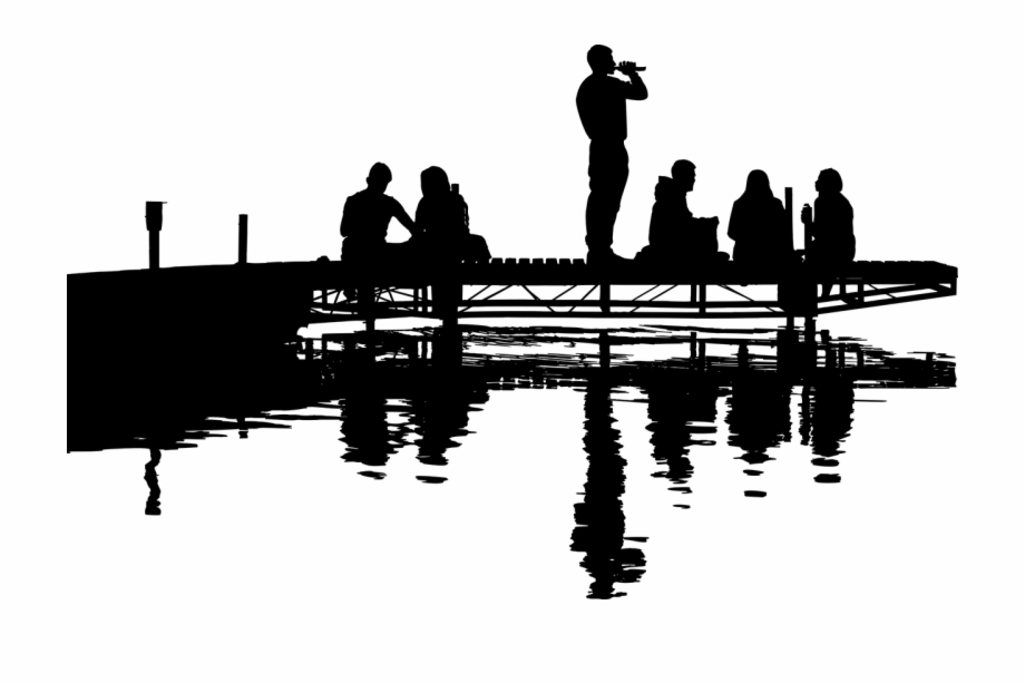Woman s reflection in water clipart clipart black and white library Man Woman Landscape Free Picture - Silhouette Lake Clip Art ... clipart black and white library