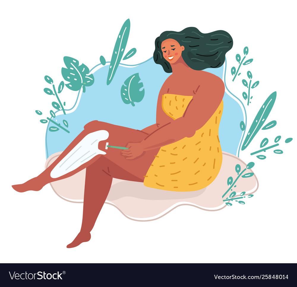 Woman shaving her legs clipart