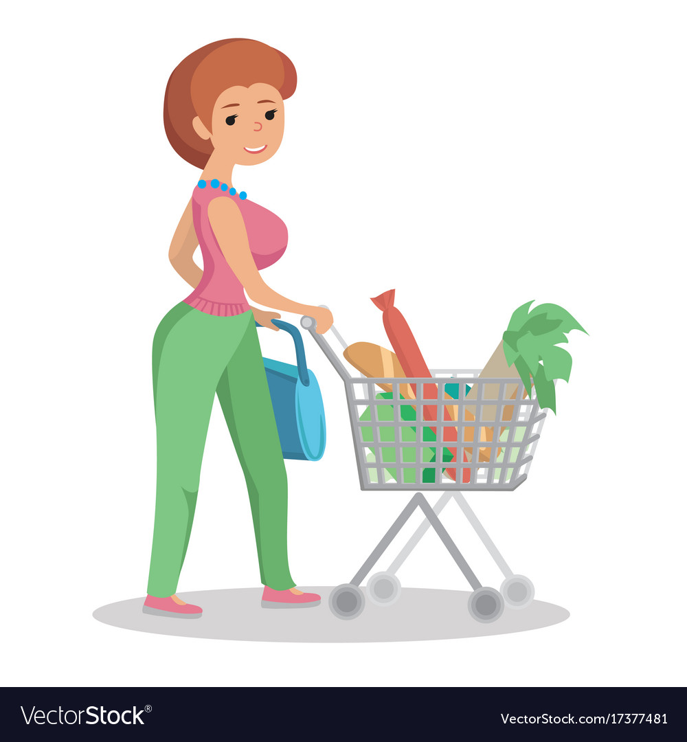 Woman shopping in supermarket clipart image freeuse Woman pushing supermarket shopping cart full of image freeuse