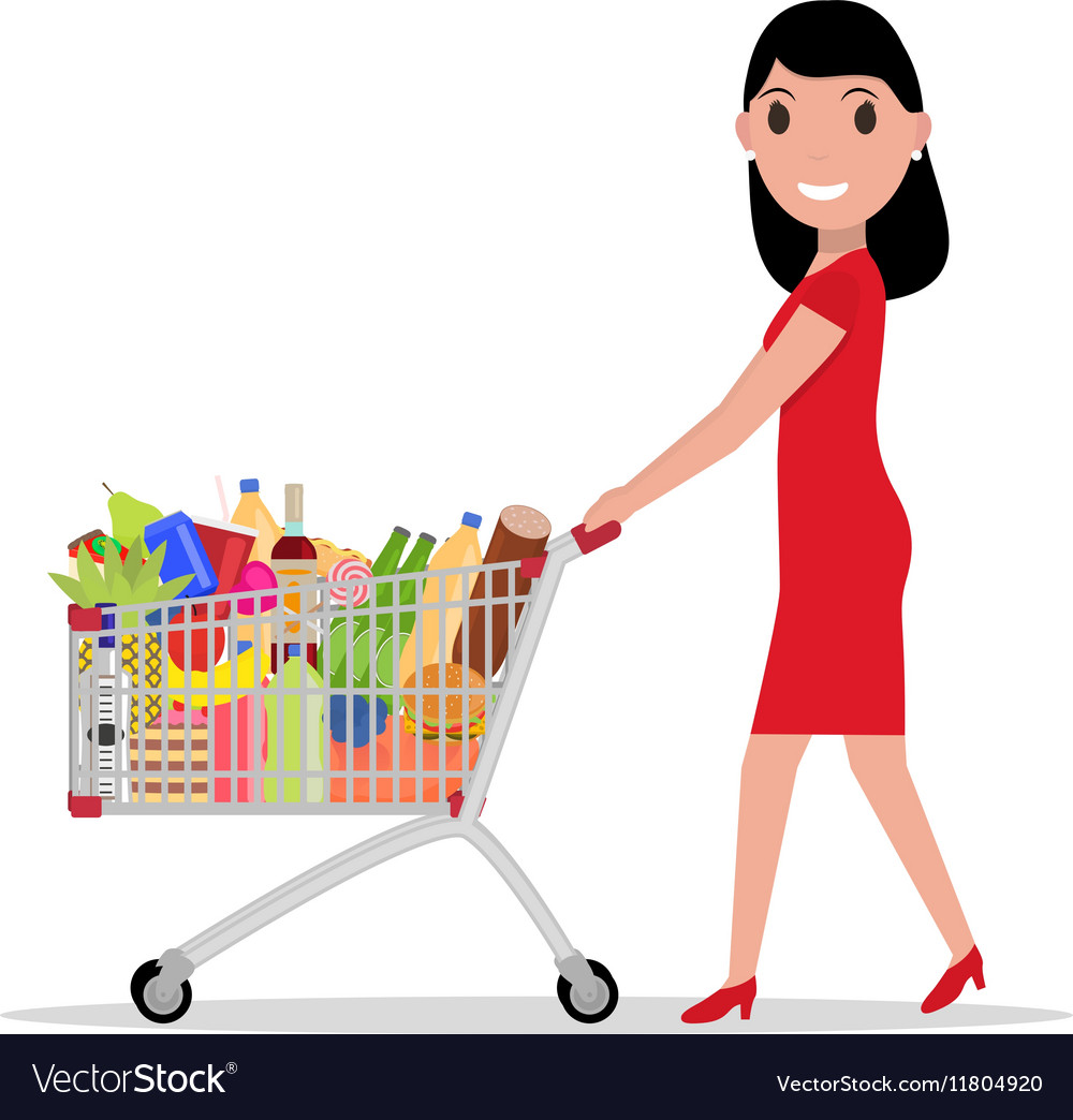 Woman shopping in supermarket clipart jpg transparent Woman with shopping trolley full groceries jpg transparent