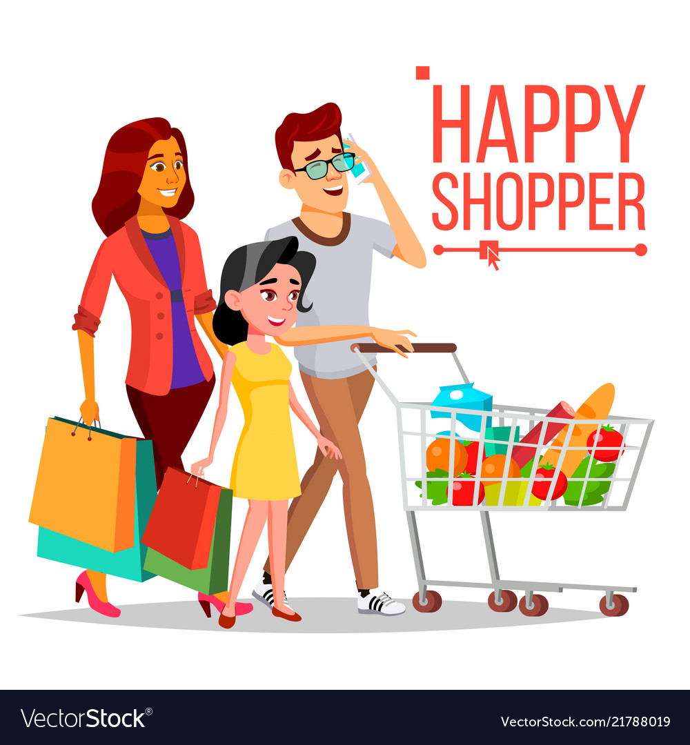 Woman shopping in supermarket clipart banner free stock Shopping woman happy family couple banner free stock