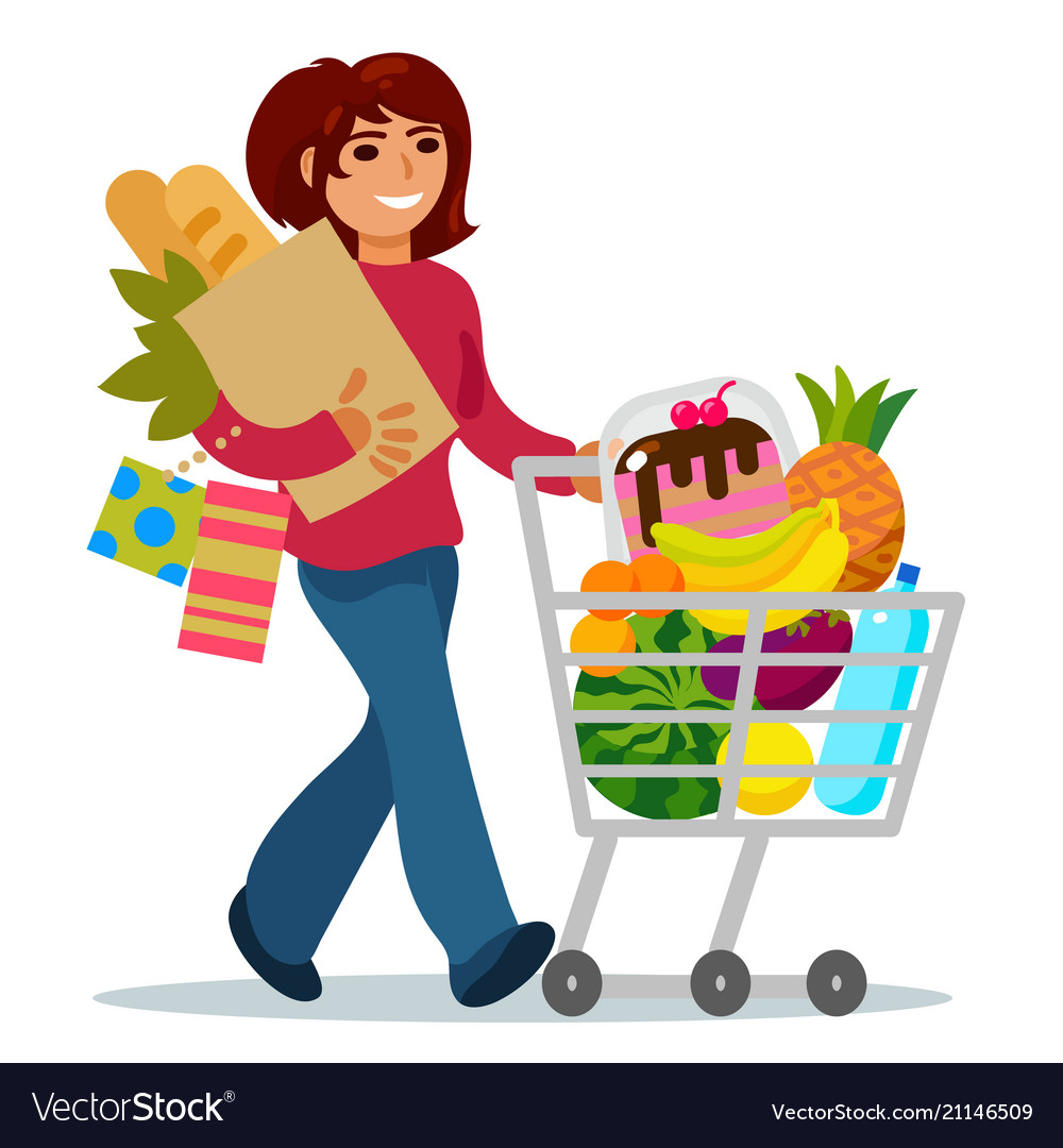Woman shopping in supermarket clipart jpg library Woman with a shopping cart buying food jpg library