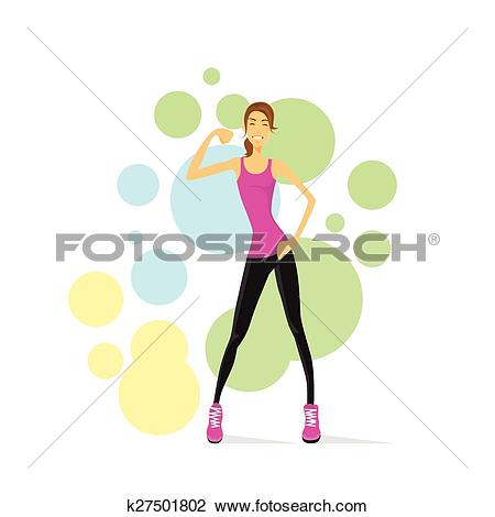 Woman showing muscle clipart image royalty free stock Clipart of Sport Woman Show Bicep Muscles Fitness Trainer ... image royalty free stock