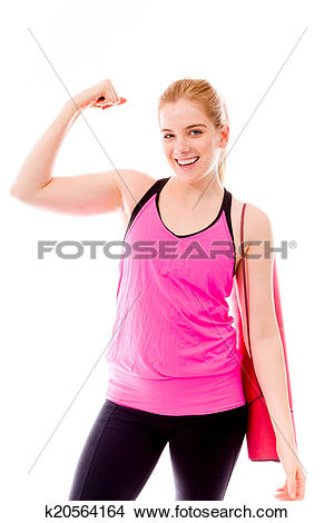 Woman showing muscle clipart png freeuse download Stock Photo of Young woman showing off her muscle k20564164 ... png freeuse download